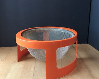 Vintage Orange Colander Strainer stamped Bonny 1975 Retro Modern MCM Space Age Panton Kartell Era