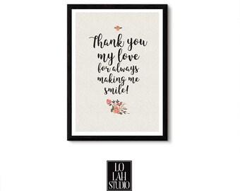 Love Floral Print plus BONUS Love e-card, Love Note, Love Digital Print, Valentine e-card