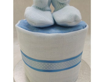 Mini Single One Tier Blue Nappy Cake with Booties New Baby Gift