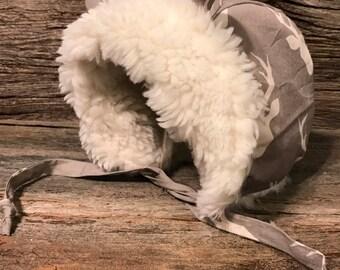 Baby Winter Bonnet, Baby hat, Baby Fur lined Bonnet, Warm Baby Hat, Baby Bonnet with Ears, Baby Hat with Ears
