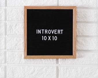 "PROMO - 10x10"" Introvert Letter Board - Oak Frame Letter Board with Black Felt - Messenger Board - Felt Board with 290 Letter Set"