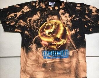 2000 Mark Of The Millennium Bleached T Shirt / Bleach Distressed 01-01-00 Millennium T Shirt Size XL
