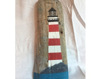 Lighthouse Acrylic Painting on Reclaimed Wood