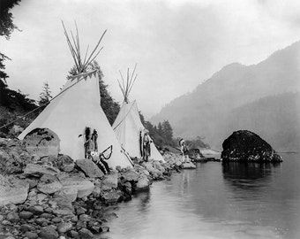 Umatilla Native American Photo with Teepees, Tepees, Tipis American Indian, Indigenous Americans, American History, Wall Art print