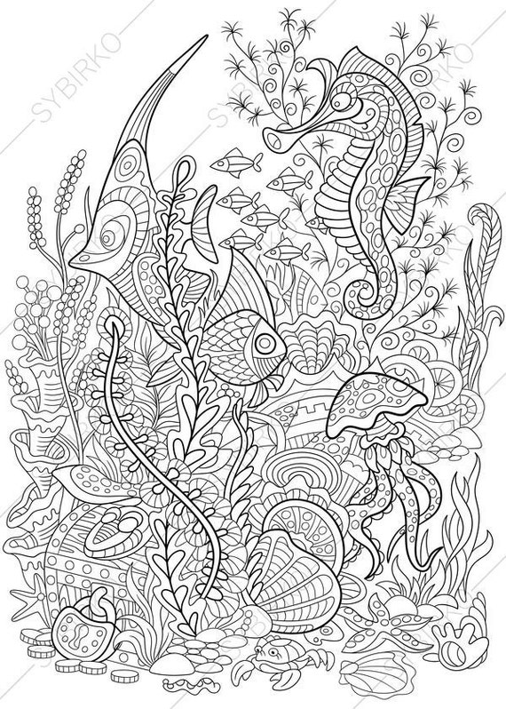 Seahorse, Jellyfish, Tropical Fishes, Treasure Chest. Coloring Page. Animal  Coloring Book Pages For Adults. Instant Print