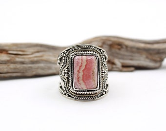 Rhodochrosite and Sterling Silver Ring - Size US 9 / FR 61 - Pink Rhodochrosite Gemstone Ring - Pink Gemstone Ring