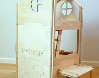 Play house (3 units) - wood doll house - tree house - wood montessori modern doll house - large dollhouse