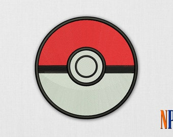Pokeball machine embroidery design. Pokemon patch. Embroidery file