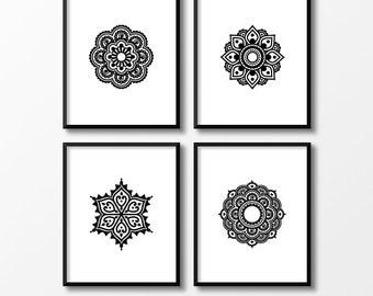Set of prints, Set of 4 prints, Mandala wall decor, Digital print set, Set of four, Boho printable, Yoga art, Zen art, Flower of life