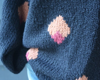 vintage   1980s   slouchy   sweater   knit   diamond motif   black   soft   loose