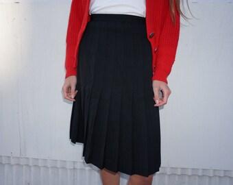 Sale! Black Wool Pleated Skirt | Knee Length School Girl Skirt | High Waisted Black Midi Skirt