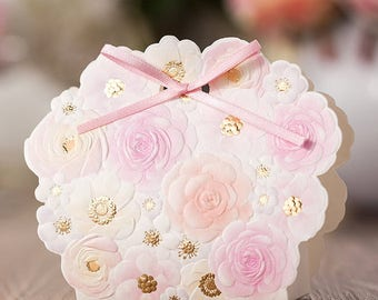 50 Rose Gold Spring Wedding Favor Boxes/DIY Wedding Favors for Guests/Embossed Flowers Gift Boxes/Pink Spring Gift Boxes/DIY Wedding Favors