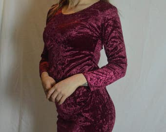 Vintage Maroon Crushed Velvet Short Dress - Size 10