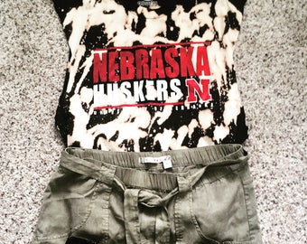 Nebraska Huskers Acid Wash Muscle Tank