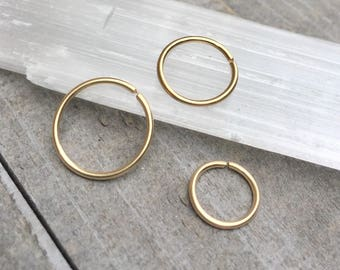 12mm gold nose ring, 18g tragus jewelry, 10mm nose hoop, 18g mens earring, 8mm hoop earrring, 14k gold filled helix piercing Small gold hoop