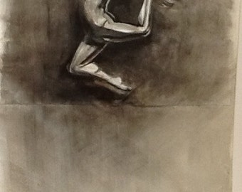Female figurative ballet dance study, original ink painting and collage on A1 paper.
