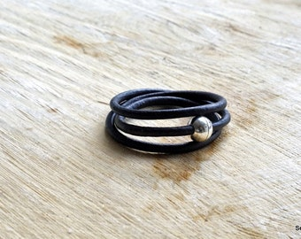 Black leather cord bracelet with magnetic lock