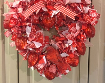 Heart Rag Wreath (#001)