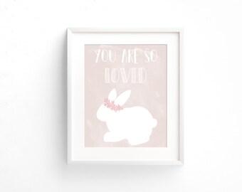 You Are So Loved, Bunny Nursery Art, Pink Nursery Decor, Flower Wreath Bunny Nursery Wall Art, Girls Nursery Decor, Baby Shower Gift Ideas
