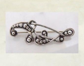 """Silver brooch """"Ball tendrils"""""""