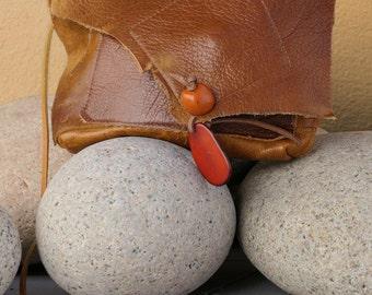 Brown Patchwork Leather Handbag - Handmade Purse