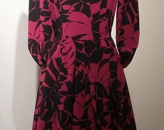 Vintage Floral and Leaf Print Dress, Pink and Black Dress with Pockets, 80s Handmade Dress Size Small