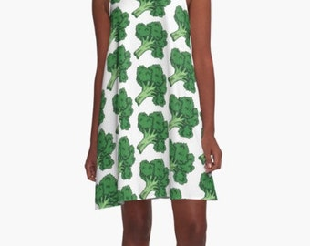 Broccoli Pattern A-Line Dress
