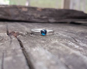 New Zealand Natural Blue Paua Shell & Eco Sterling Silver Ring