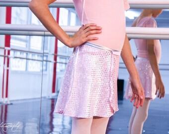 Kids Ballet wrap skirt - pink velvet sequined