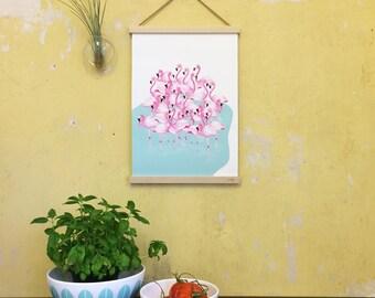 Flamingos in the lake, art print, watercolours