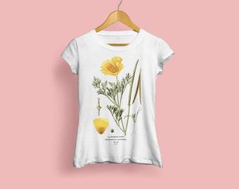 Californian Poppy Ladies T-Shirt - Botanical Illustration, Botanical Art, Botany, Flower Tshirt, Rosa Foetida, Vintage Art, S M L XL XXL
