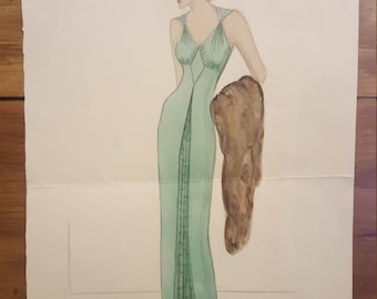 Original Vintage Fashion Illustration, Pencil and Watercolour