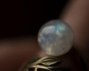 Rainbow Moonstone - Bronze Leaf Ring