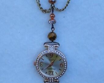 Peachy Rose brooch watch, nurse lapel watch