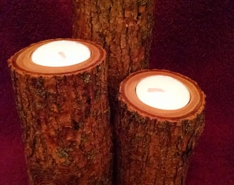 Tree Limb Vertical Tea Light Holders w/Bark