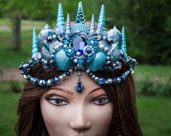 Mermaid crown - Blue Mermaid Tiara - Photoshoot - Wedding Crown - Beach