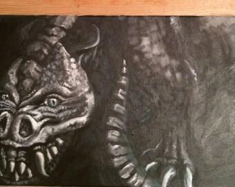 Dragon original oil painting on canvas