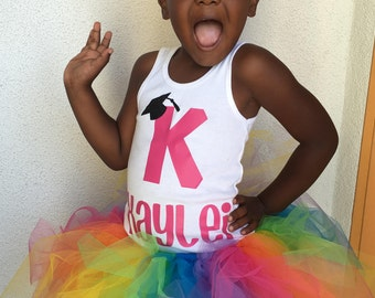 Graduation Tutu and Vinyl Shirt, Rainbow Tutu, Girl tutu or Back to School Outfit