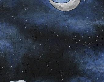 PRINT of Original Acrylic Moon Painting, night sky stars blue black clouds home decor by LizPaloArt
