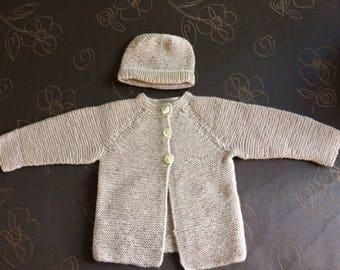 Baby cardigan superwash wool size 68 EU