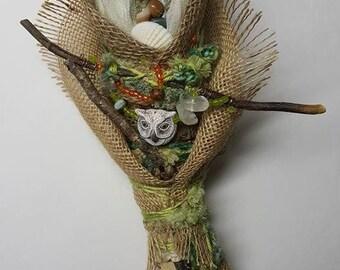 Athena or Minerva,  Spirit art doll.  Wisdom and knowledge. Art Doll Assemblage.