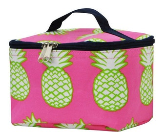 Personalized Cosmetic Bag - Embroidered Makeup Bag - Pineapple Makeup Bag - Pineapple Cosmetic Bag - Monogrammed Makeup Bag -