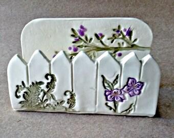 Kitchen Sponge Holder ceramic Business Card Holder Picket fence purple flowers