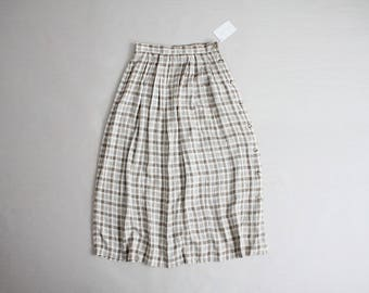 beige plaid skirt | 90s skirt | side button skirt