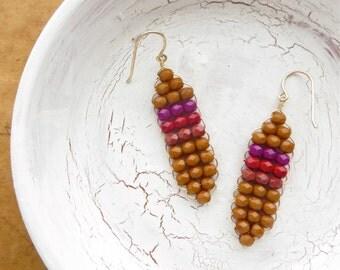 Beaded Earrings // Dangle Earrings // Boho Earrings // Tribal Earrings // Contemporary Earrings // Gift for Her // Gift under 30 // Handmade