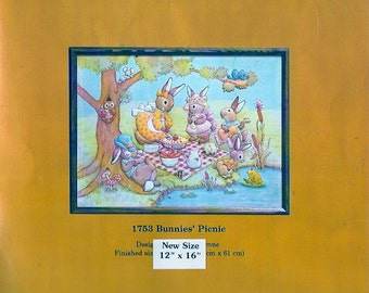Woodland Rabbit Picnic Childrens home decor vintage 80s Creative Circle 1753 Vintage Needlecraft Finished size 12 X 16