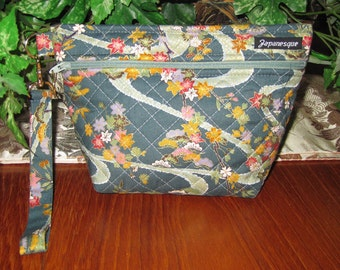 Japanese Floral Design Quilted Cosmetic Wrist Strap Pouch with Waterproof Lining