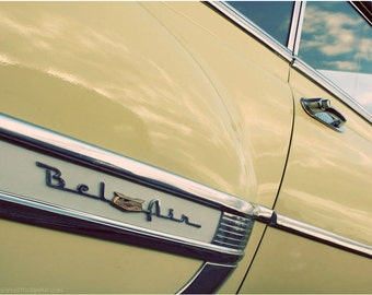 Classic Car Photograph - Yellow Chevrolet Bel Air Car Art - 8x10 Limited Edition Photograph - Vintage Automobile Reflection Photography