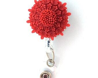 ID Badge Reel Red Orange Resin Flower on Retractable Badge Holder 334