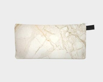 New YorkMarble Cosmetic & Pencil Case - Modern Printed Zipper Clutch - Marble Makeup Case